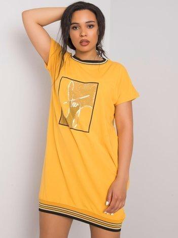 Żółta sukienka plus size z aplikacją Jadis
