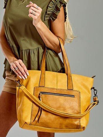 Żółta torba z ozdobną kieszenią