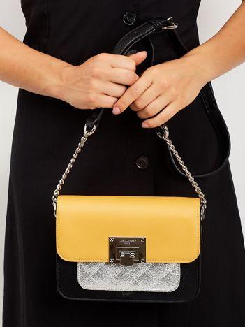 Żółta torebka z pikowaną wstawką