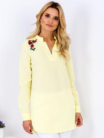 Żółta tunika V-neck z haftem