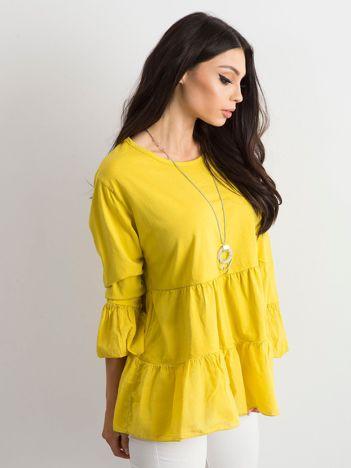Żółta tunika damska z falbaną