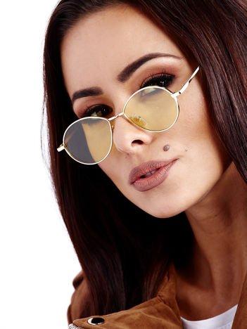 Żółte Metalowe Owalne Okulary Unisex