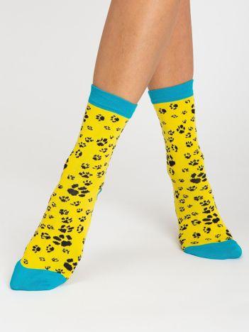 Żółte damskie skarpetki