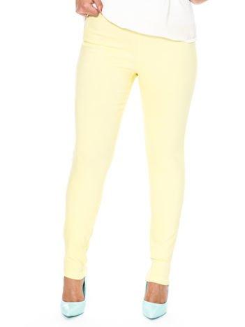 Żółte dopasowane spodnie z suwakami PLUS SIZE