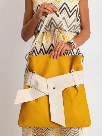 Żółto-beżowa torba z paskiem