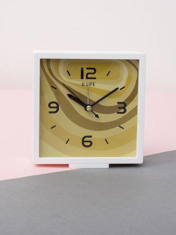 Żółto-biały kwadratowy zegarek