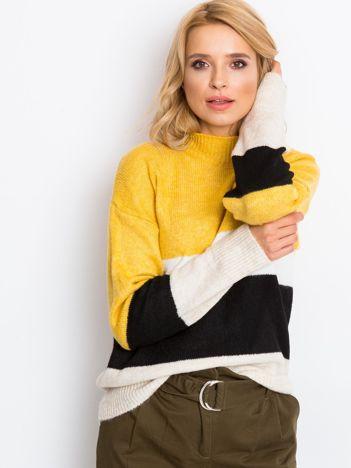 Żółto-biały sweter Denise