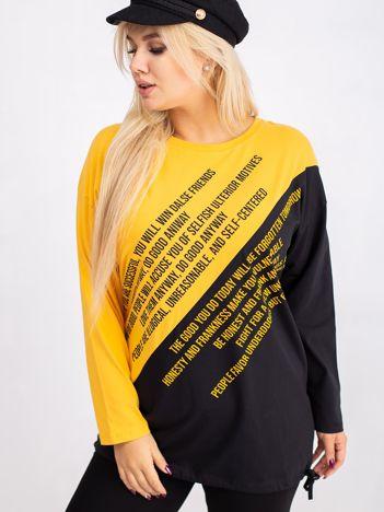 Żółto-czarna bluzka plus size Secretly