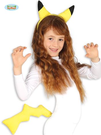 Żółto-czarny dziecięcy zestaw Zwierzę z ogonem i uszami