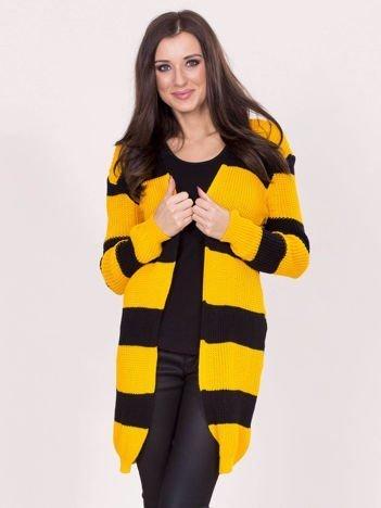 Żółto-czarny sweter w pasy