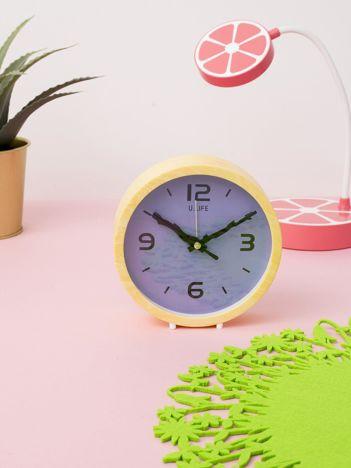 Żółto-fioletowy zegar stołowy