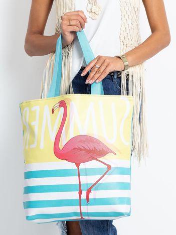Żółto-niebieska torba z flamingiem