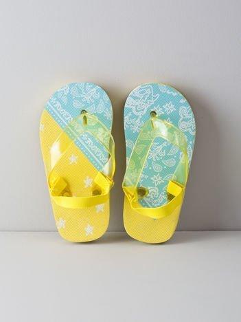 Żółto-niebieskie japonki dziecięce
