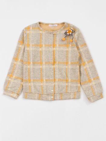 Żółto-szary sweter dziecięcy w kratkę