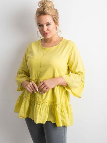 Żółto-zielona tunika boho z falbaną PLUS SIZE