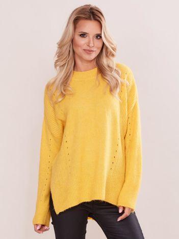 Żółty asymetryczny sweter