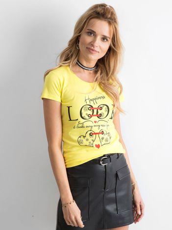 Żółty bawełniany t-shirt damski z nadrukiem
