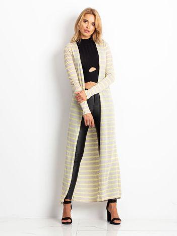 Żółty długi sweter w paski