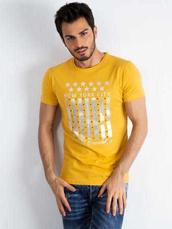 Żółty męski t-shirt Designed