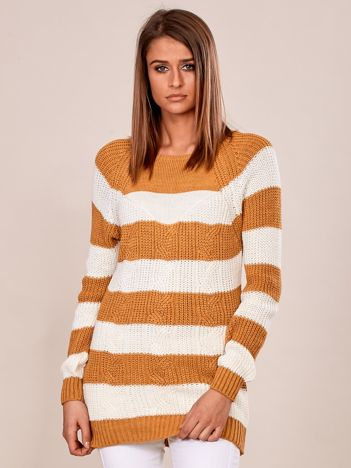 Żółty sweter damski w paski