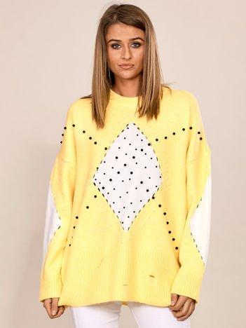 Żółty sweter oversize z aplikacją