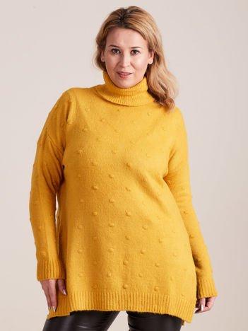Żółty sweter z golfem PLUS SIZE