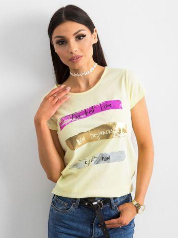 Żółty t-shirt bawełniany z nadrukiem