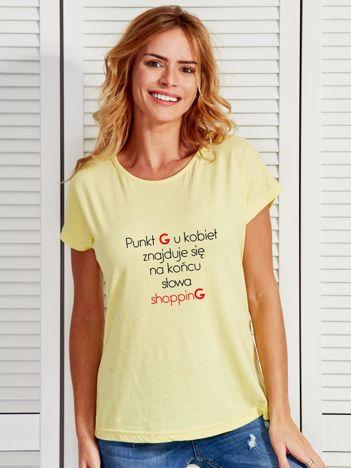 Żółty t-shirt damski PUNKT G z zabawnym napisem
