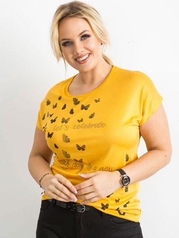 Żółty t-shirt damski z nadrukiem PLUS SIZE