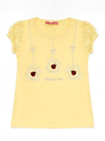 Żółty t-shirt dla dziewczynki z biedronkami