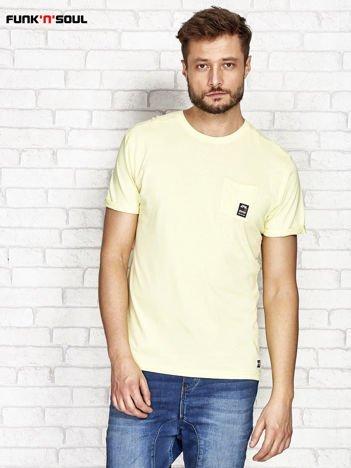 Żółty t-shirt męski z kieszonką FUNK N SOUL