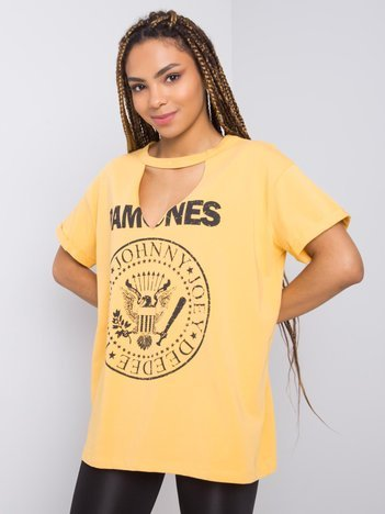 Żółty t-shirt z nadrukiem Cordoba