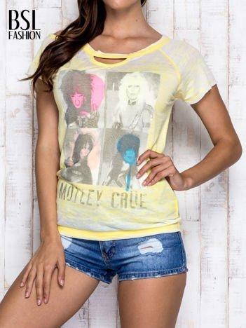 Żółty t-shirt z nadrukiem Mötley Crüe