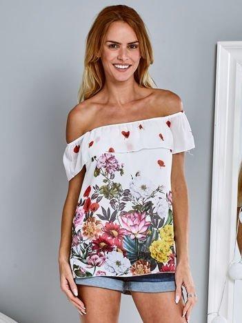 Zwiewna bluzka hiszpanka w kwiaty z falbaną ecru