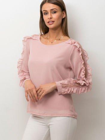 Zwiewna bluzka z ozdobną wstawką z koronki różowa