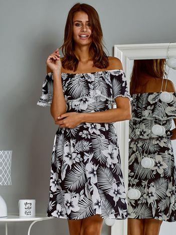 Zwiewna sukienka letnia  hiszpanka w tropikalny wzór granatowa