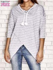 Asymetryczna bluzka w paski szara