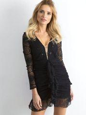 BY O LA LA Czarna koronkowa sukienka z drapowaniem