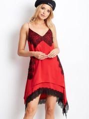 BY O LA LA Czerwona asymetryczna sukienka na cienkich ramiączkach