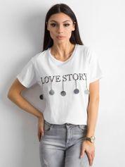 Bawełniana damska koszulka z aplikacją biała