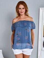Bawełniana zwiewna bluzka hiszpanka w kwiaty niebieska