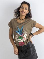 Bawełniany t-shirt khaki