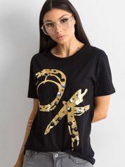 Bawełniany t-shirt z aplikacją czarny