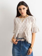 Beżowa haftowana bluzka z falbaną