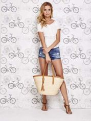 Beżowa torba koszyk plażowy ze skórzanymi rączkami
