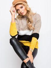 Beżowo-biały sweter Denise