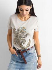 Beżowy damski t-shirt
