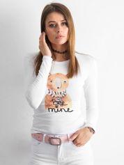 Biała bawełniana bluzka z nadrukiem