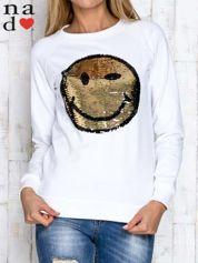 Biała bluza z dwustronną naszywką z cekinów