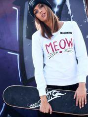 Biała lekka bluza z napisem MEOW